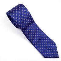 ISAIA NAPOLI Neck Tie 7 FOLD Blue Geometric 100% Silk HANDMADE IN ITALY EUC