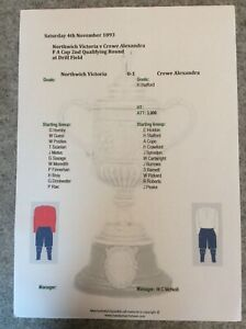1893-94 Northwich Victoria v Crewe Alexandra FA Cup Qualifying Matchsheet