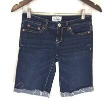 Aeropostale Cut Off Raw Hem Bermuda Walking Jean Shorts Dark Wash Women's Sz 1/2