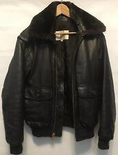 Jeffrey Banks for Lakeland Mens Bomber Flight Brown Leather Jacket Size 40