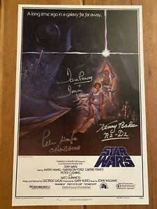 STAR WARS 11x17 Poster CAST Signed x3. Dave Prowse, Peter Mayhew & Kenny Baker.