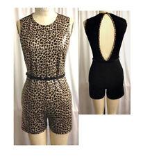 Open Back Party Belt Faux Leather Leopard Catsuit Sleeveless Short Jumper S/M/L