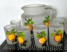 Gay Fad Hand Painted Pitcher & 6 Orange Juice Glasses w/Federal Shield Stamp