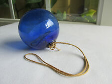 Antique Cobalt Blue Three Piece Mold Target Ball Fine Condition