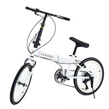 Sport 20'' Famous Brand Unisex Folding Bike Bicycle in Black And White 6 Gears