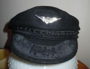 GREEK FISHERMAN CAP Hat Black WOOL /Cotton Size 57// 7 1/8 red silk lining