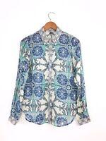 Semi Sheer 'Silk Scarf Print' Pattern Blouse Green Blue Mirror Image LS 10 38