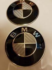 BMW 2pcs SET 82mm/73mm BLACK/WHITE CARBON Hood/Trunk-Emblems
