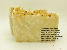 VEGAN TEA TREE ESSENTIAL OIL ORGANIC SHEA FOR ACNE ECZEMA FACE BODY SOAP