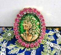 Vintage Style Czech ALL Glass Rhinestone Pin Brooch #T054 - SIGNED