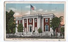 New Public Library, New Haven Connecticut 1924 Postcard, American flag