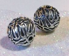 BALI .925 STERLING SILVER 10mm ROUND ORNATE FOCAL BEAD #1562 - (1)