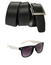 Combo of Black Belt and Sunglass Wayfarer Black white Color Free shipping