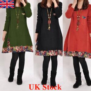 Ladies Cotton Floral Trim Tunic Baggy Autumn Dress Top Vintage Women Size 6-20
