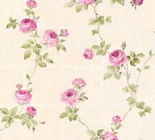 Vlies Tapete Kacheln Blumen Kletterrosen beige grün pink 34501-4 Chateau 5