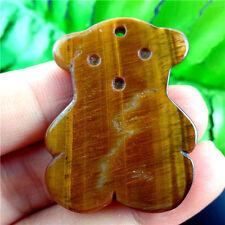 Charming Tiger Eye Gem Carved Bear Pendant Bead L5XY0503