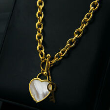 Noble Jewel Mother of Pearl Shell Heart Lock And Key Gold Plated Necklace
