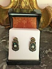 Antique Victorian Floral Micro Mosaic Pietra Dura Gold Fill Pierced Earrings