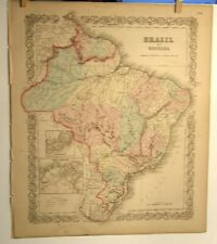 ANTIQUE 1859 HAND COLORED COLTON'S GENERAL ATLAS ENGRAVING MAP OF BRAZIL
