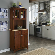 Brown Natural Wood Top Buffet Hutch Cabinet Indoor Home Living Furniture Kitchen