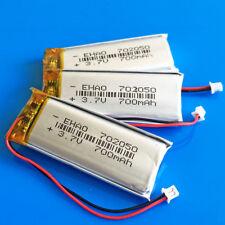 3 pcs 700mAh Li Po Battery 3.7V for MP4 PSP DVD GPS 702050 JST 1.25mm Connector