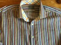 Thomas Dean L/S Flip Cuff Button Up Shirt Mens Size Large Multi-Color Stripe B29