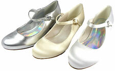 Girls Wedding Bridesmaid Kitten Heel Shoes Silver, White Ivory Satin Mary Jane