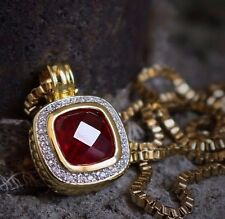 Hip Hop Ruby Red Gem Stone Pendant And Box Chain