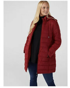 Centigrade Faux Down Mid Length Printed Coat with Hood Wine Size 16 New Rrp £65