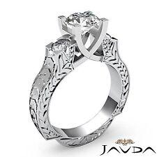 Round Natural Diamond Engagement Filigree Ring GIA F SI1 Platinum 1.35ct 3 Stone