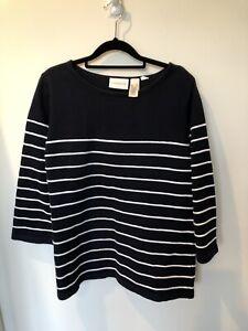 Liz Claiborne, Navy w/h white Stripes Top, Size XL