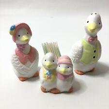 Mr & Mrs Duck Salt And Pepper Shakers Ducklings Toothpick Holder