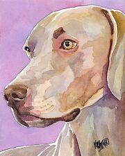 Weimaraner Dog 11x14 signed art PRINT RJK painting