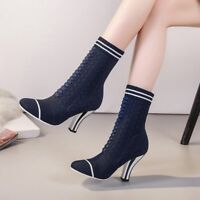NEW Sock Ankle Boots Knit Mid calf Booties Stripe Block Heel Spring Autumn Shoes