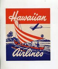Vintage Airline Luggage Label HAWAIIAN AIRLINES catamaran