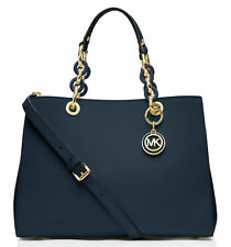 Michael Kors Cynthia Navy Medium Satchel Tote Bag 30s3tcys2l
