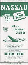 1954-55 TRAVEL BROCHURE UNITED TOURS NASSAU BAHAMS FROM MIAMI FL AIR & BOAT TRIP