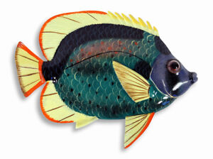 """Hand Painted 15"""" Tropical Fish Wall Mount Decor Sculpture Green 76A-3"""