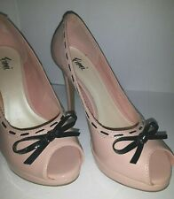 """Fioni Size 5 4"""" heel open toe with bow pink with black bow"""