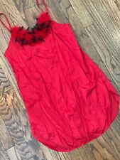Vtg 70s 80s Undercover Wear Christmas Red Feather Nylon Nightgown Lingerie M