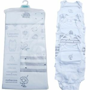5 x MOTHERCARE WHITE AND GREY NEUTRAL BABYGROW POPPER VESTS 100% COTTON NEW -36m
