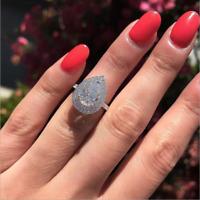 Luxury Pear Cut White Sapphire CZ Water Drop Wedding Ring 925 Silver Jewelry