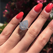 Luxury Pear Cut White Sapphire CZ Water Drop Wedding Ring 925 Silver Jewelry