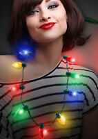 HOLIDAY CHRISTMAS JUMBO Bulb Necklace Light Up Flashing LED Lights FUN~
