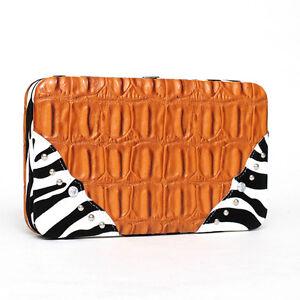 Women's' Western Croco Embossed Zebra Trim Brown Wallet
