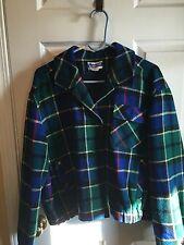 Vtg PENDLETON Sz L Bright Blue Jacket Coat 100% Wool Green Plaid Knockabout