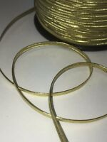 1M +1M FREE! Shiny Gold Christmas Elastic cord tape 3mm gift wrap present FME01N