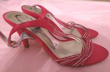 "Debenhams Debut UK5 EU38 cerise pink satin strappy sandals with 3.5"" heels - new"