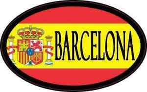 4in x 2.5in Oval Spanish Flag Barcelona Sticker Car Truck Vehicle Bumper Decal