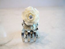 Tiny mini silver metal white rose flower hair claw clips with rhinestones